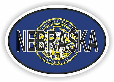 NEBRASKA STATE OVAL FLAG STICKER USA UNITED STATES bumper decal car helmet