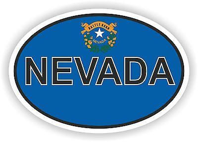 NEVADA STATE OVAL WITH FLAG STICKER USA UNITED STATES bumper decal car helmet