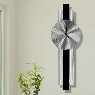 Statements2000 Modern Metal Wall Art Clock Silver Black by Jon Allen Lunar Flux