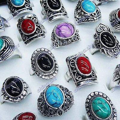 New 5pcs Mix Turquoise Vintage Tibet Silver vogue Rings wholesale jewerly lots