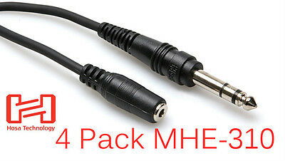 "4 Hosa MHE-310 10 Ft Headphone Cable 2-3 Day PRIORITY 1/4"" TRS Male -1/8"" Female"