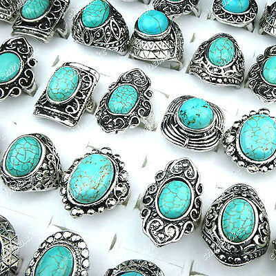 Mixed 5pcs Turquoise Vintage Tibet Silver Fashion Rings Wholesale Jewerly Lots