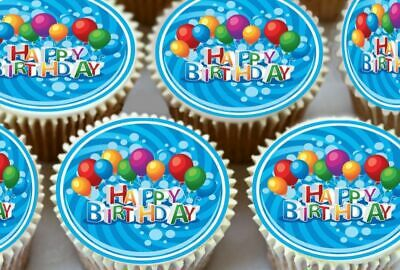 30 X HAPPY 4TH BIRTHDAY EDIBLE CUPCAKE TOPPERS THICK RICE PAPER 1163