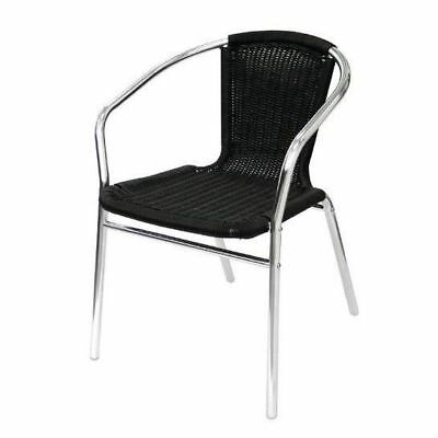 4x Cafe Chairs, Aluminium and Wicker, Black, Stackable, Outdoor Furniture
