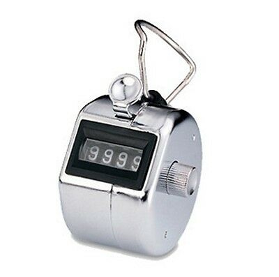 Hand Held Chrome Tally Counter Clicker 4 Digits Palm Golf People Counting Club