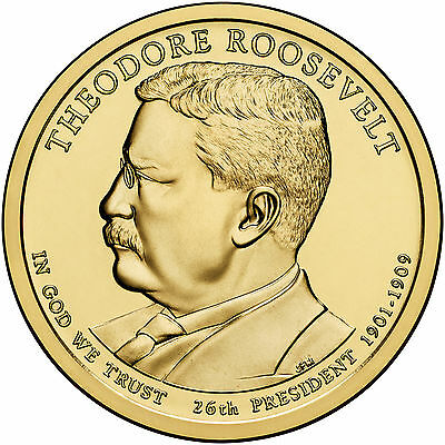 2013 P&D Theodore Roosevelt Golden Presidential Dollar Coin Teddy Shield 1¢ Free