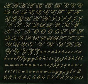 """One 4""""x4"""" sheet 22k gold alphabet script letter decal ProFusion fusing decal"""