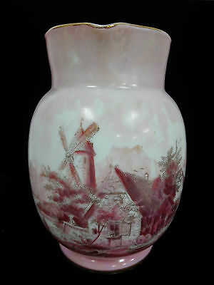 20% OFF! Large Dutch scene hand painted porcelain water pitcher - pinks