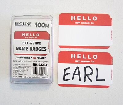 "100 Red ""hello My Name Is"" Name Tags Labels Badges Stickers Peel Stick Adhesive"