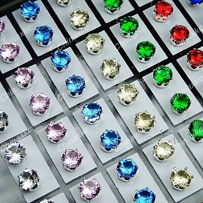 New 72pcs Mix Stainless steel Cubic zircon Stud Earrings Wholesale Jewelry Lots