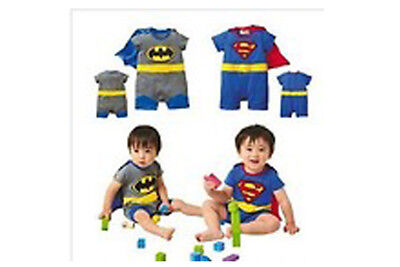 **NEW** CUTE DISNEY BABY ROMPERS, 4 SIZES (0-24mths) BATMAN SUPERMAN