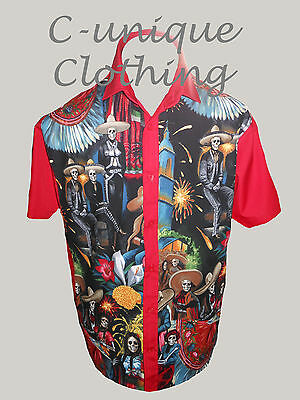 C-unique Mens Red Mexican Skeleton Rockabilly Psychobilly 50s Lounge Diner Shirt