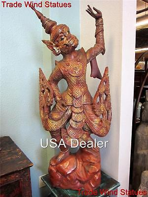 4ft Teak Wood Pair RARE ANTIQUE HANUMAN STATUES Thailand Temple Protectors 538-I