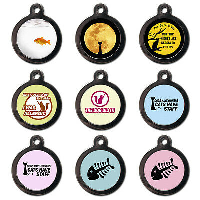Cool Custom Personalised Pet Cat Name ID Tag For Collar Pet Tags - Engraved FREE