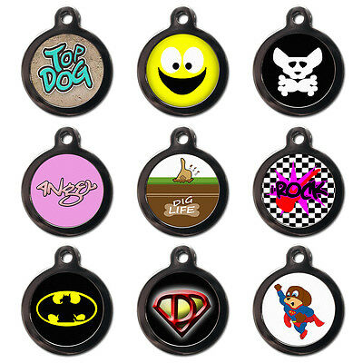 Personalised PET TAGS Dog Cat Name ID Tags-Engraved FREE - Superman Batman Theme