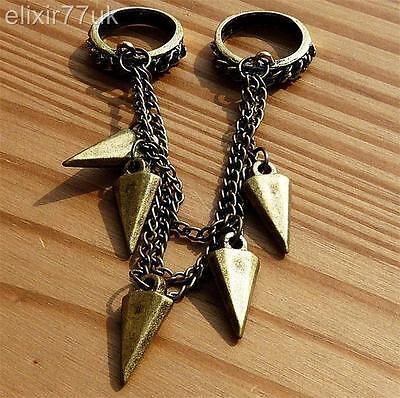 New Vintage Double Ring Chain Rivets Spike Gothic Punk Rock Spiky Jewellery Goth