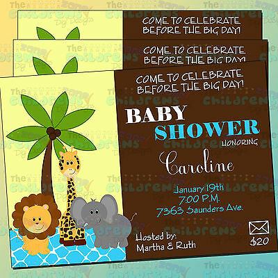 Safari Baby Shower Invitations 1-7x5-Animals Baby Shower Invitations-It's a boy