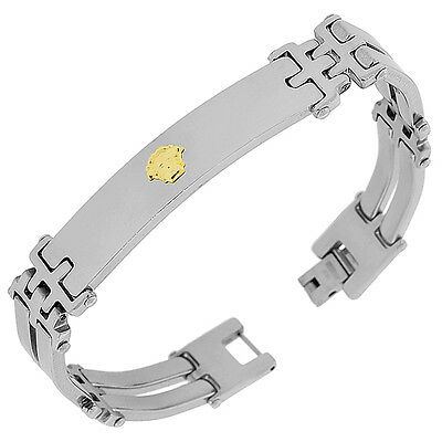 Stainless Steel Silver Yellow Gold Two-Tone Mens Links Chain Bracelet