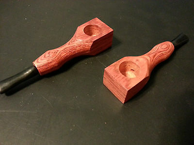 Wood Tobacco Smoking Pipe Orange, Metal screens & Cleaning Tool Poker