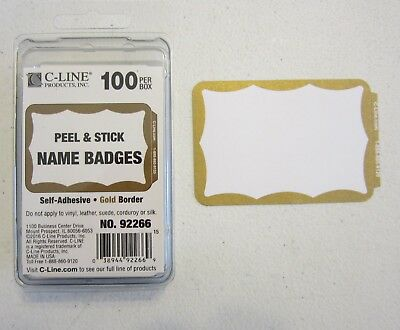 100 Gold Border Badges Name Tags Labels Id Stickers Peel And Stick Adhesive