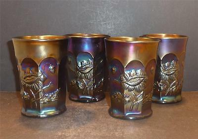 Northwood Carnival Oriental Poppy Set of Four Tumblers