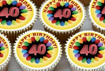 24 X Happy 40Th Birthday Edible Cupcake Toppers Cake Thick Rice