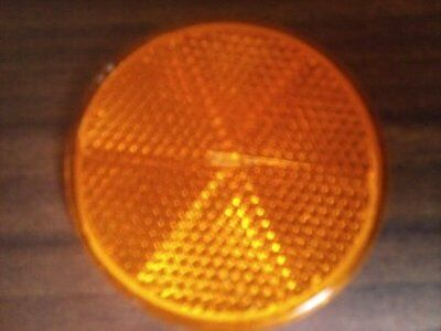 60mm Reflector Self Adhesive Round Amber Orange Truck Caravan Trailer Gate Sign