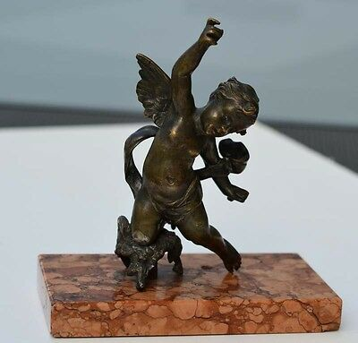 BRONZE  auf MESSING    ENGEL  ALTE  FIGUR