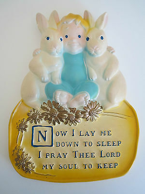 VTG 1971 Miller Studio Nursery Wall Plaque Prayer Now I Lay Me Down Baby&Bunnies