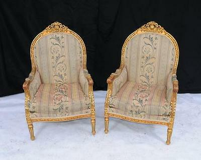 Pair Louis XV Gilt Arm Chairs Armchair Tub Hand Carved