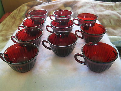 Set Of 10 Beautiful Vintage Ruby Red  Cups
