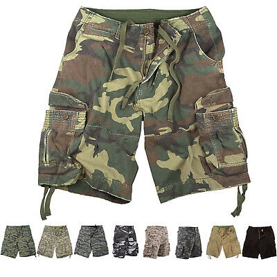 Mens Vintage Camo Cargo Shorts, Army Military Tactical Infantry Utility Work