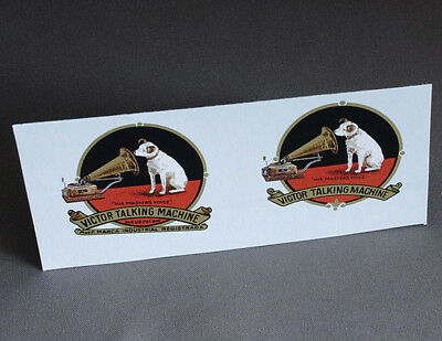 2 DECAL VICTOR TALKING MACHINE LOGO FOR PHONOGRAPH HORN