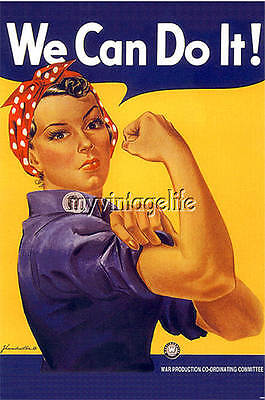 Vintage ROSIE THE RIVETER ~ WE CAN DO IT Quilting Fabric Block 5x7