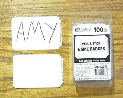 25 White Name  Badges  Tags Labels Id Stickers Peel And Stick Adhesive