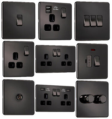 EXCLUSIVE PROMOTION - Screwless Flat plate Light Switches & Sockets Black Nickel
