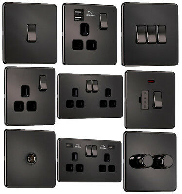 EXCLUSIVE PROMOTION - Screwless Flatplate Light Switches & Sockets Black Nickel