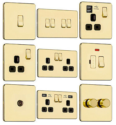 EXCLUSIVE PROMOTION-Screwless Flat Plate Light Switches & Plug Sockets Pol Brass