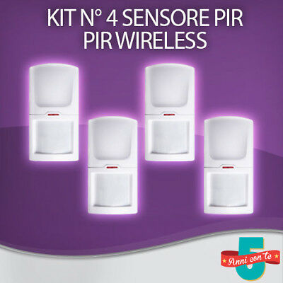 Kit N° 4 Sensori Di Movimento Pir Volumetrico Wireless Allarme