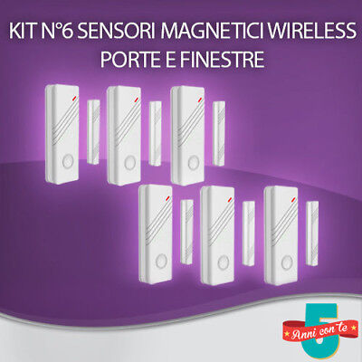 Kit N 6 Sensori Magnetici Porte E Finestre Wireless