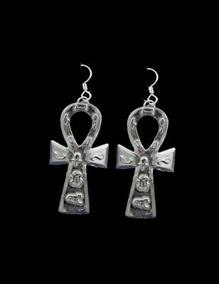 Egyptian Ankh Sterling Silver Jewelry Big Earrings Key Of Life