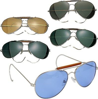 6a9c2a54556 Aviator Sunglasses Air Force Style Chrome Frames With Case