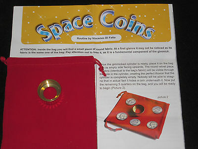 Space Coins Magic Trick - Made of Brass, Close-Up Magic, Illusion, Use Any Coins