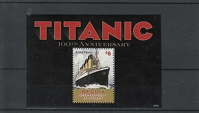 Bequia Grenadines St Vincent 2012 MNH RMS Titanic 1v S/S Boats Ships Stamps