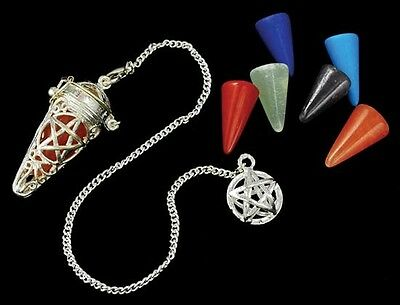 Chakra Cage Pendulum Pentacle Star Healing Dowsing Meditation Peace of Mind A++