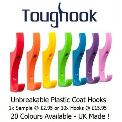 10x TOUGHOOK Super Strong Coat Hooks for Schools Unbreakable NEW LOWER PRICE