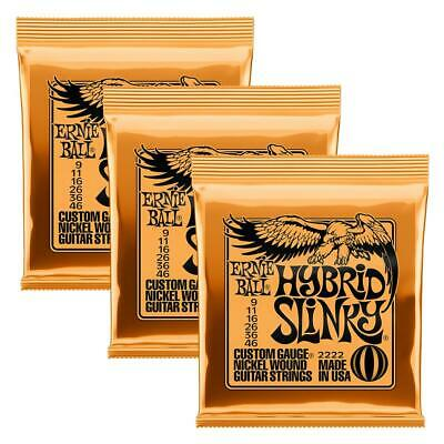 3-Pack Ernie Ball 2222 Hybrid Slinky Nickel Wound Guitar Strings Gauge 9-46