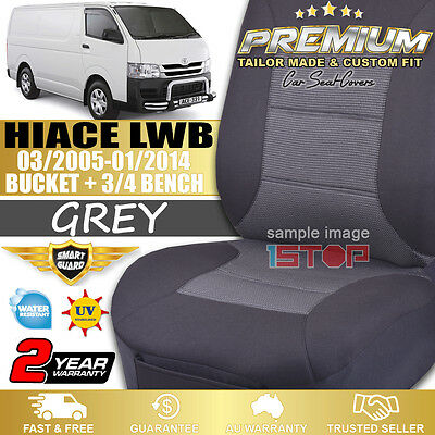 Toyota Hiace Lwb 03/2005-01/2014 Charcoal Grey Custom Fit Seat Covers Front Set