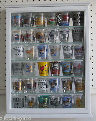 Shot Glass Display Case Wall Cabinet, glass door, mirrored background, SCD06B-WH