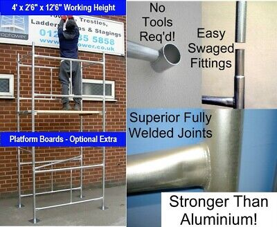 Scaffold Tower 3.8m 4 x2ft 6in x 12ft 6in DIY Working Ht Galvanised Steel Towers